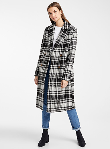 Contrast check double-breasted coat