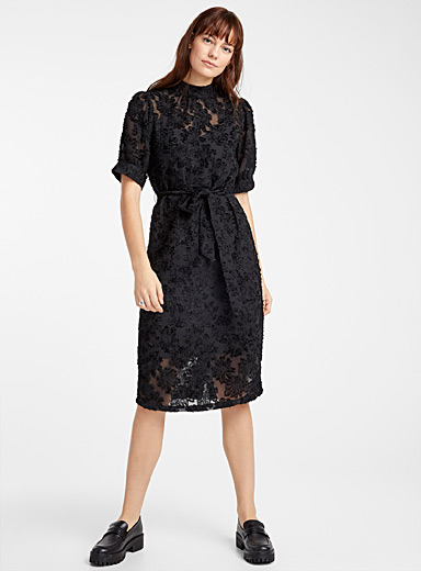 Chenille leopard belted dress