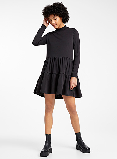 Ruffle insert jersey dress