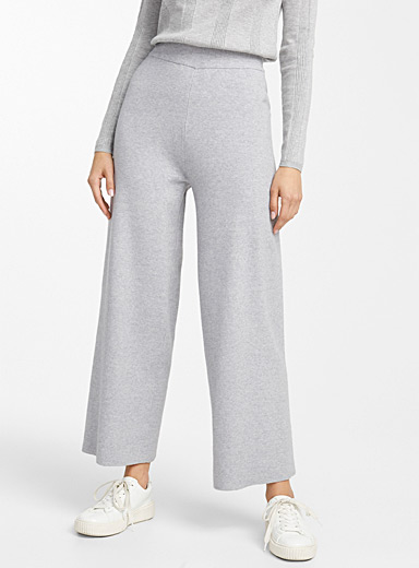 Structured heather knit palazzo pant
