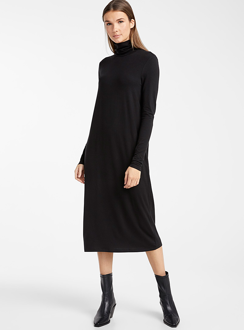 Lyocell jersey turtleneck dress - Bodycon - Black