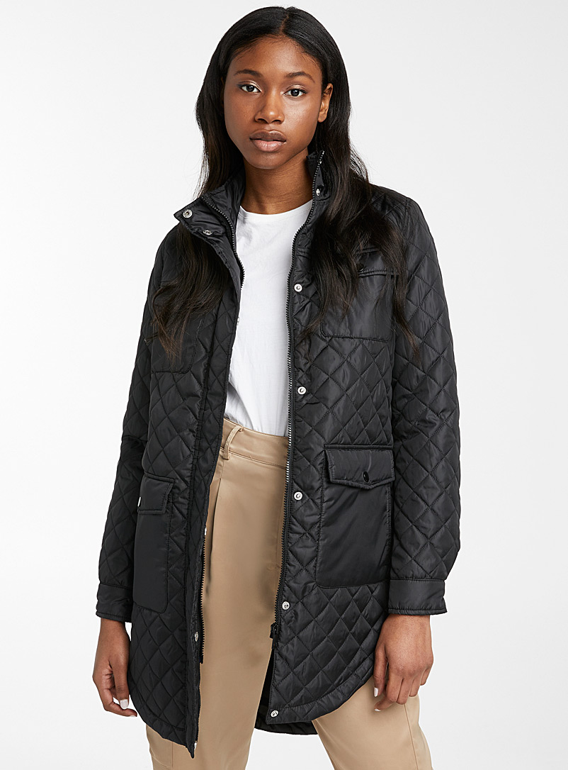 Vero Moda Black Long quilted jacket for women