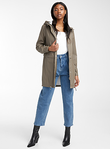 Vero Moda Khaki Elastic cord rubber finish raincoat for women