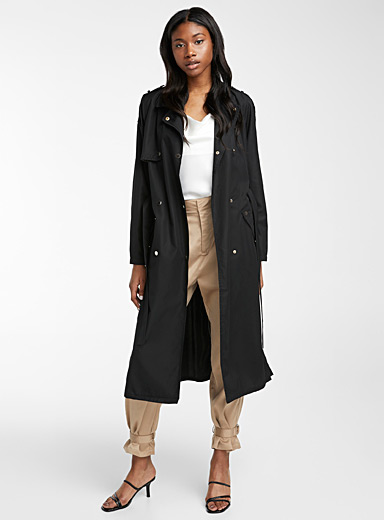Vero Moda Black Metallic button trench coat for women