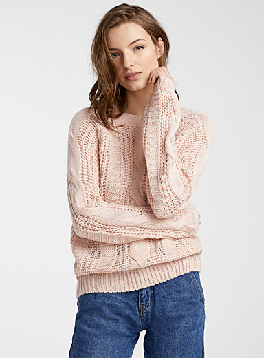 Vero Moda Dusky Pink V-back cable sweater for women