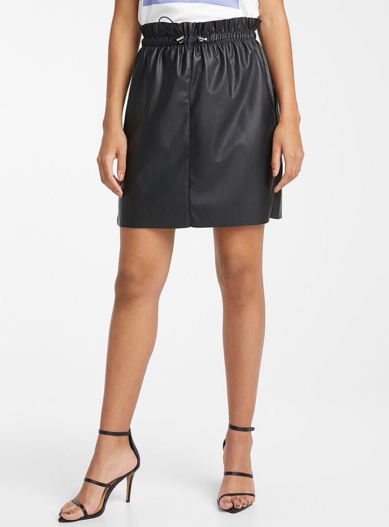 Vero Moda Black Gathered-waist faux-leather skirt for women
