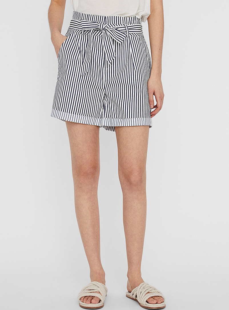 Vero Moda Patterned Blue Eva striped tie short for women
