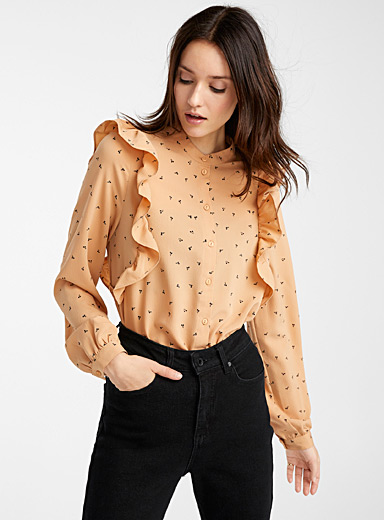 Vero Moda Patterned Brown Recycled polyester ruffle shoulder mini-flower shirt for women