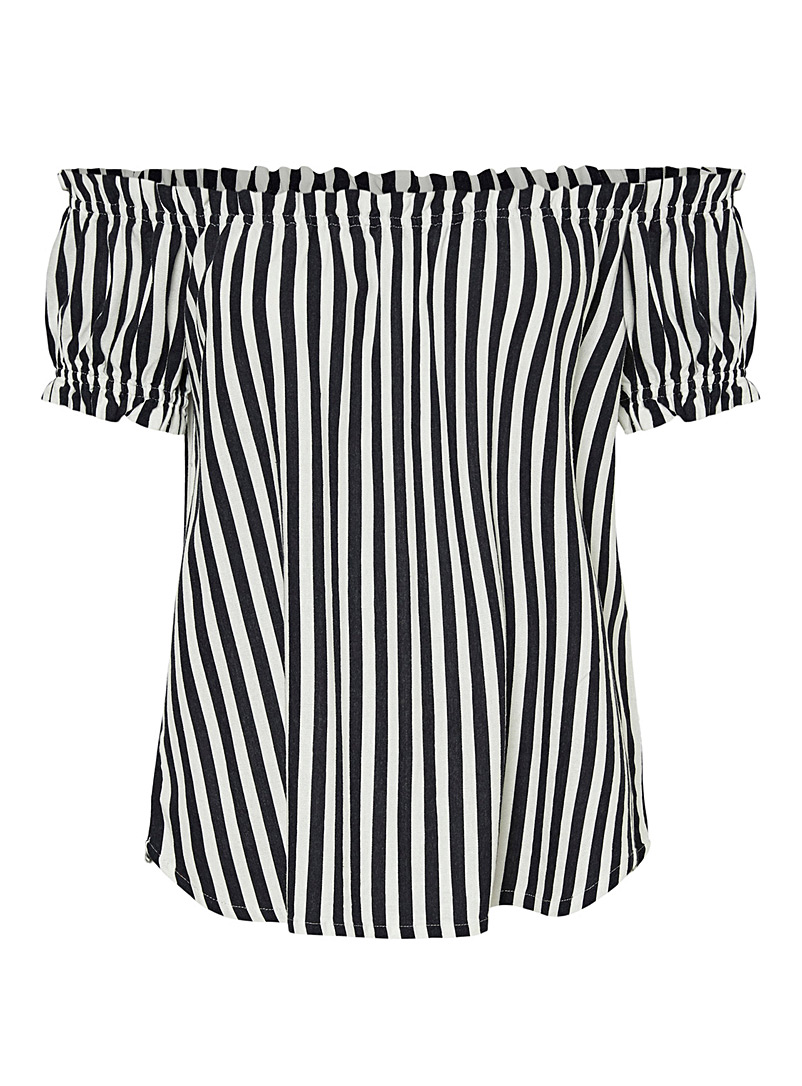 Vero Moda Patterned Blue Striped bare-shoulder blouse for women