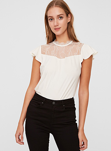 Lace block recycled polyester tee