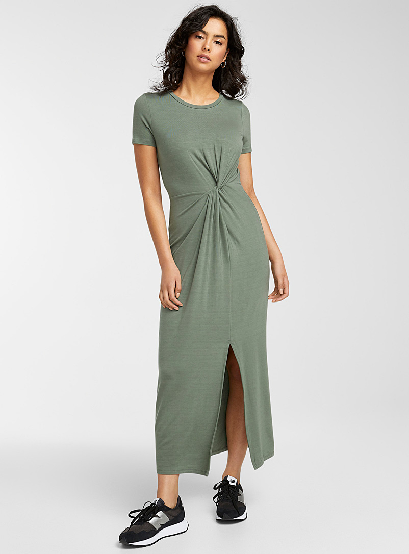 Vero Moda Mossy Green Eco-friendly lyocell asymmetric maxi dress for women