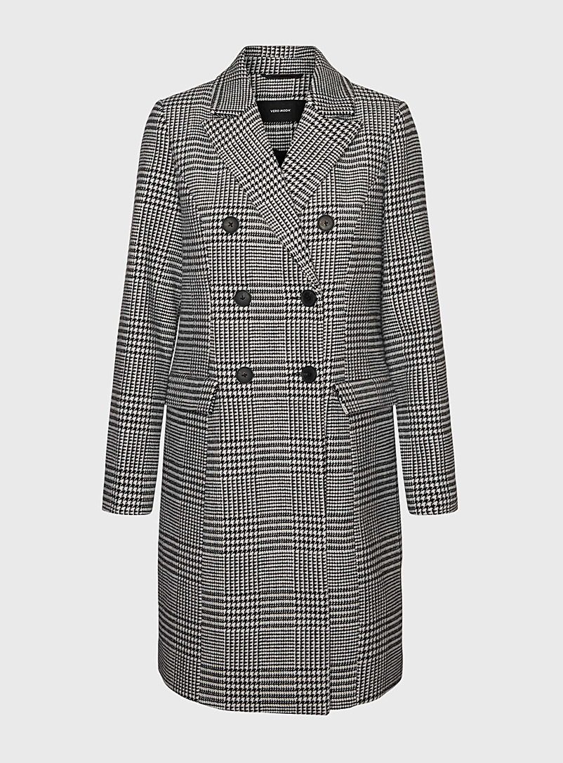 Vero Moda Patterned Black Check double-breasted coat for women