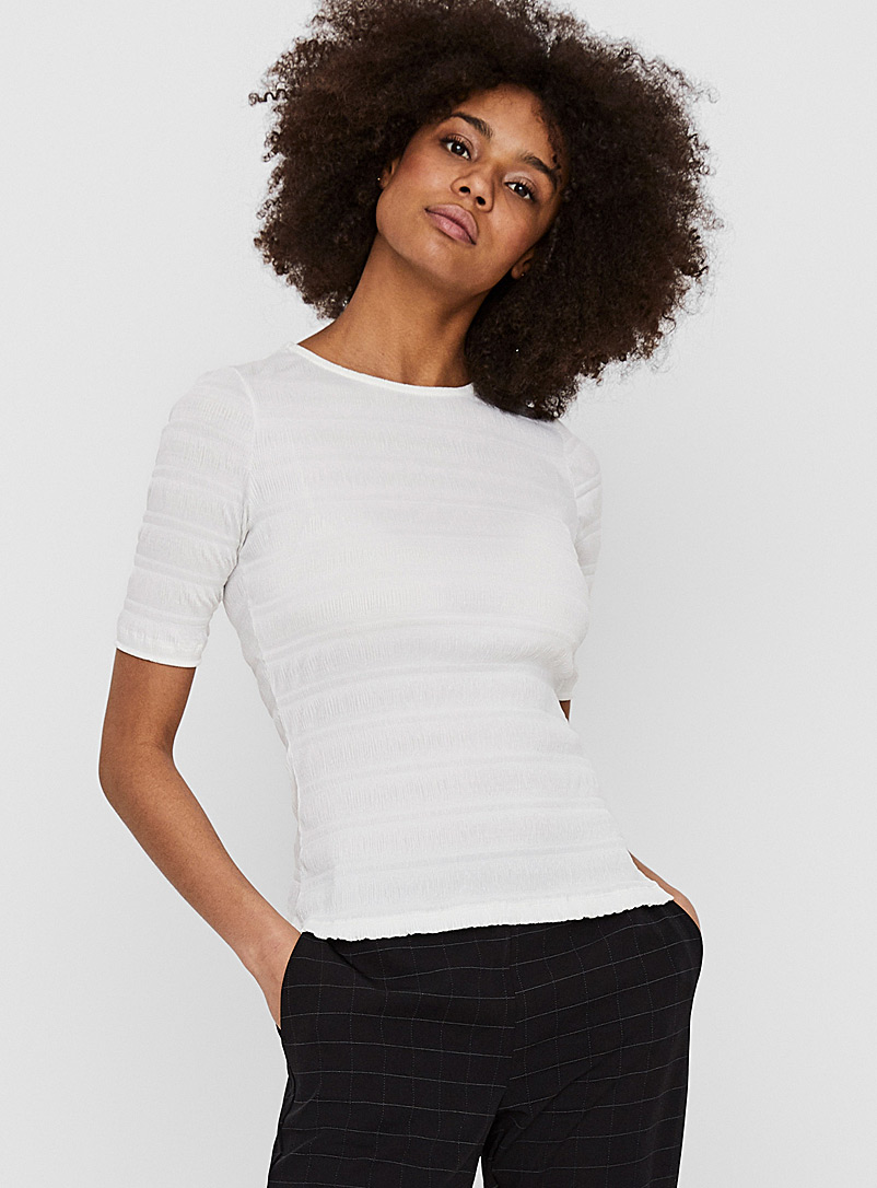 Vero Moda White Ribbed stripe T-shirt for women
