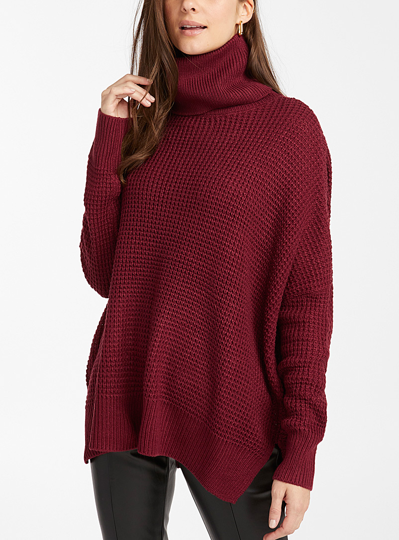 Vero Moda Ruby Red Leanna waffled turtleneck sweater for women