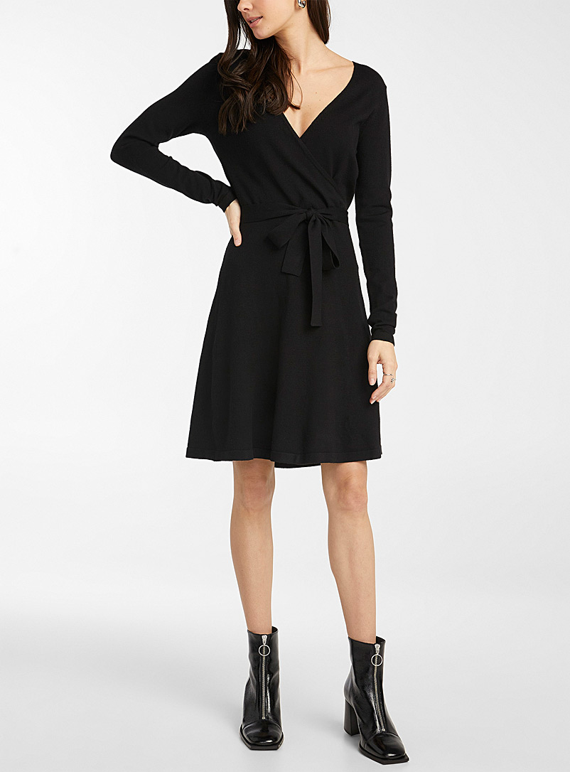Vero Moda Black Eco-friendly viscose knit crossover dress for women