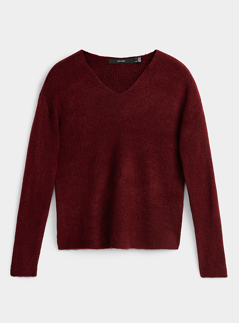 Vero Moda Red Etched ribbed V-neck sweater for women