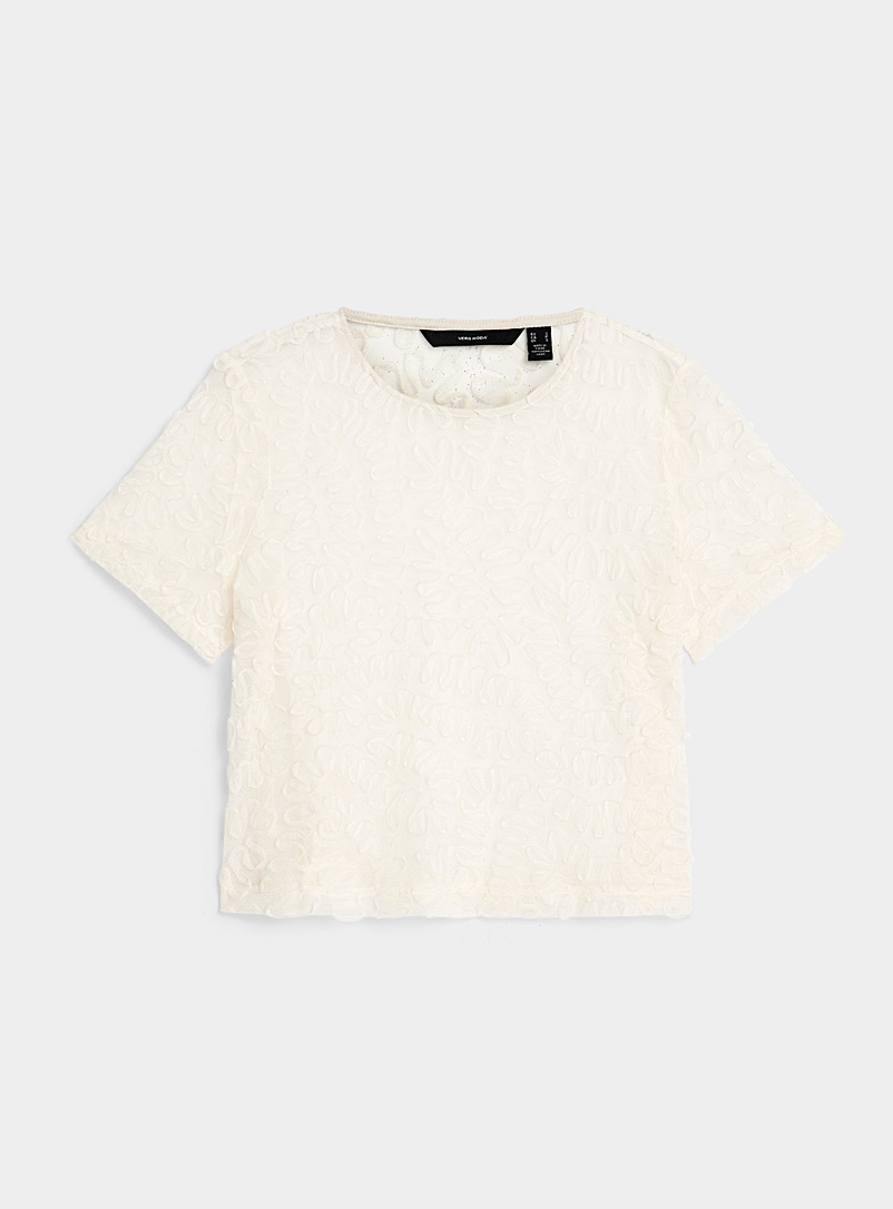 Vero Moda Ivory White Appliqué swirl tulle tee for women