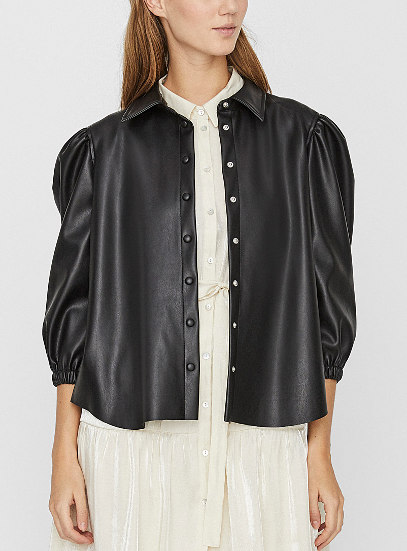 Faux-leather jacket shirt