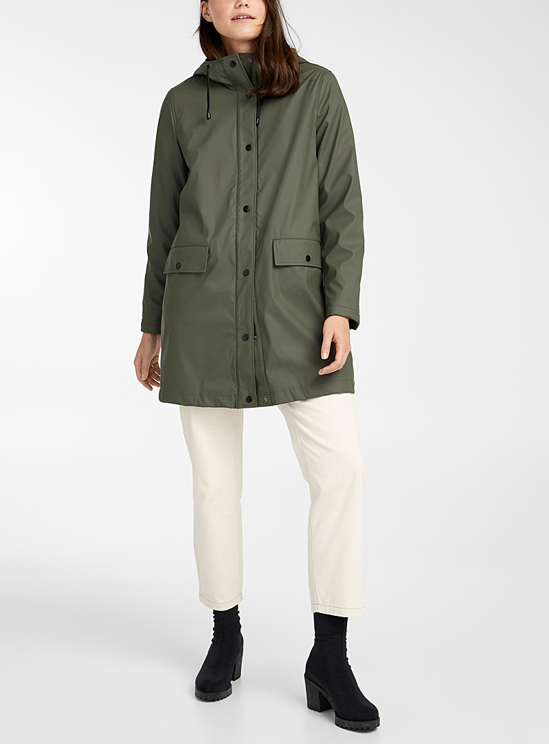Vero Moda Khaki Long hooded raincoat for women
