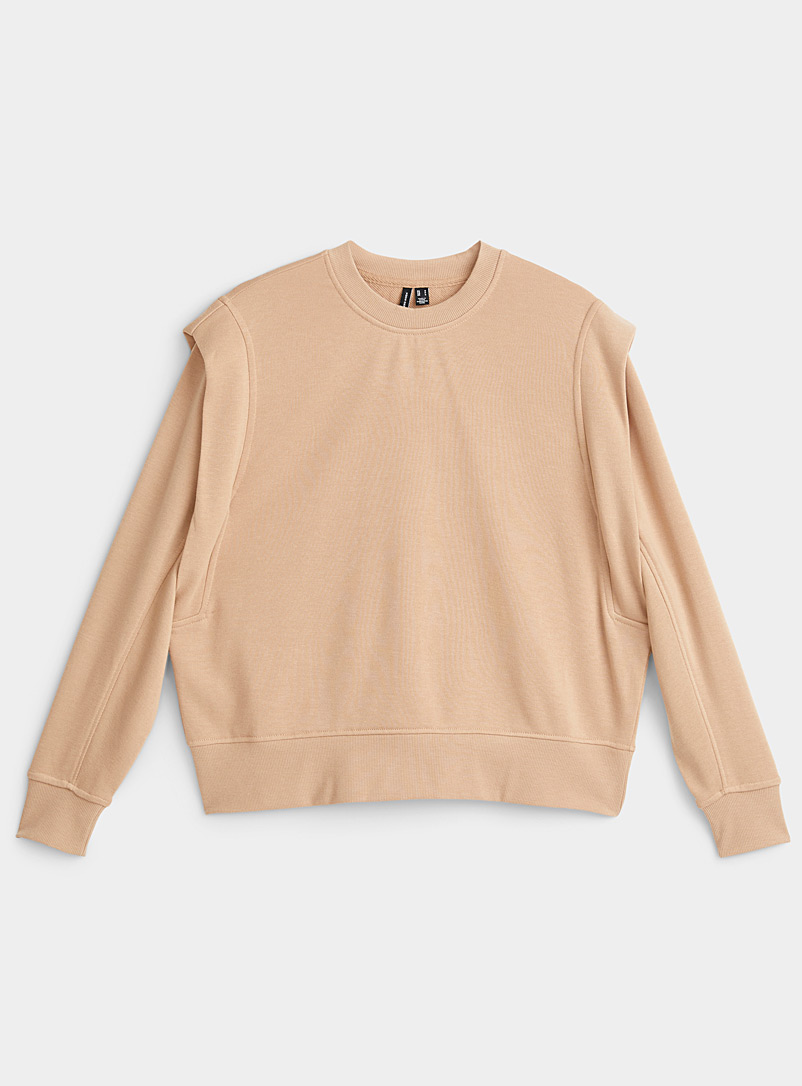 Shoulder ruffle accent sweatshirt