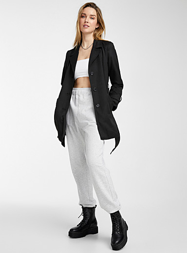 Belted cropped trench coat