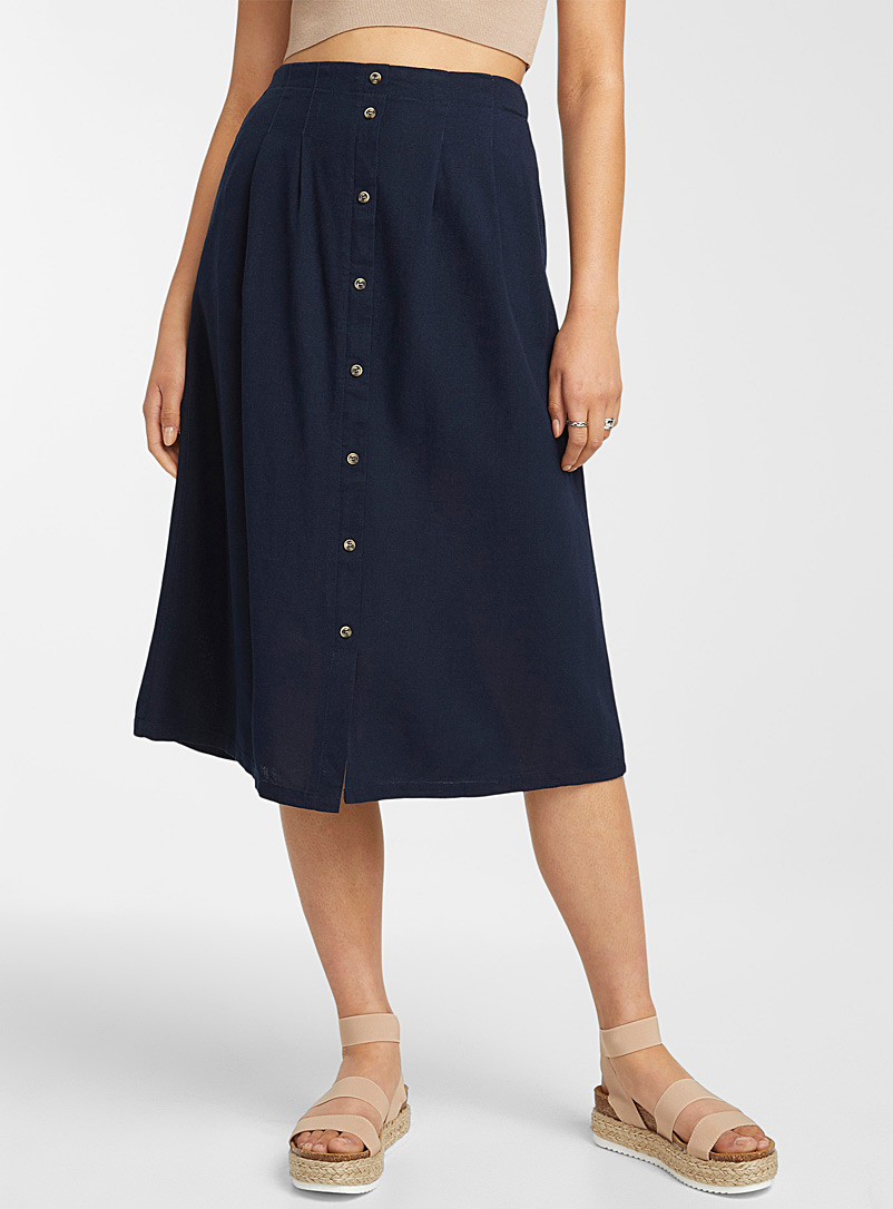 Vero Moda Marine Blue Buttoned midi skirt for women