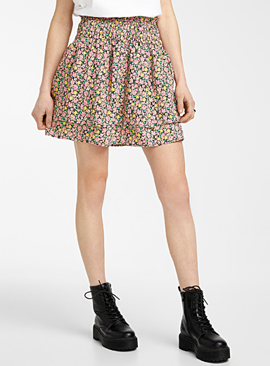 Saturated floral miniskirt