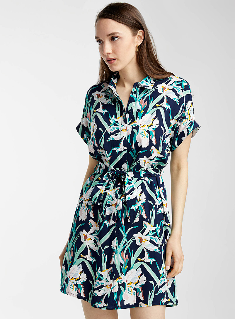 Vero Moda Patterned Blue Eco-friendly viscose belted floral dress for women