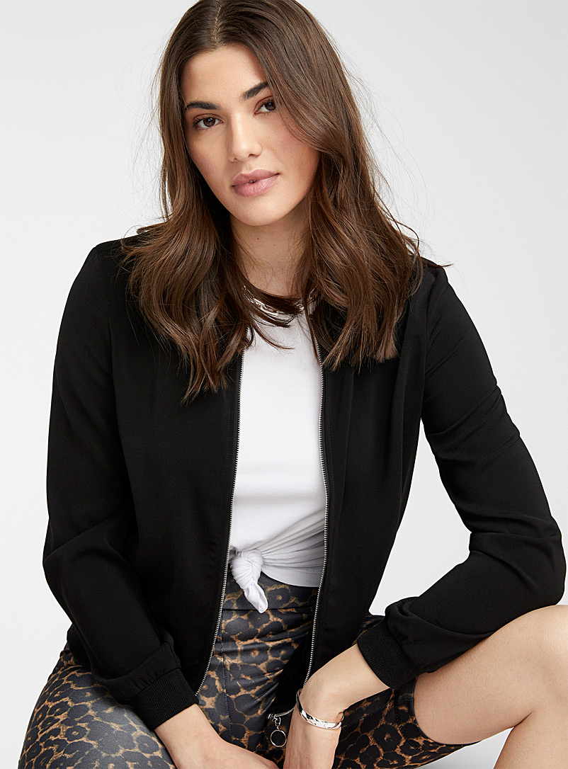 Vero Moda Black Silky crepe bomber jacket for women