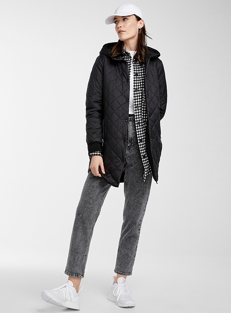 Vero Moda Black Hooded long puffer jacket for women