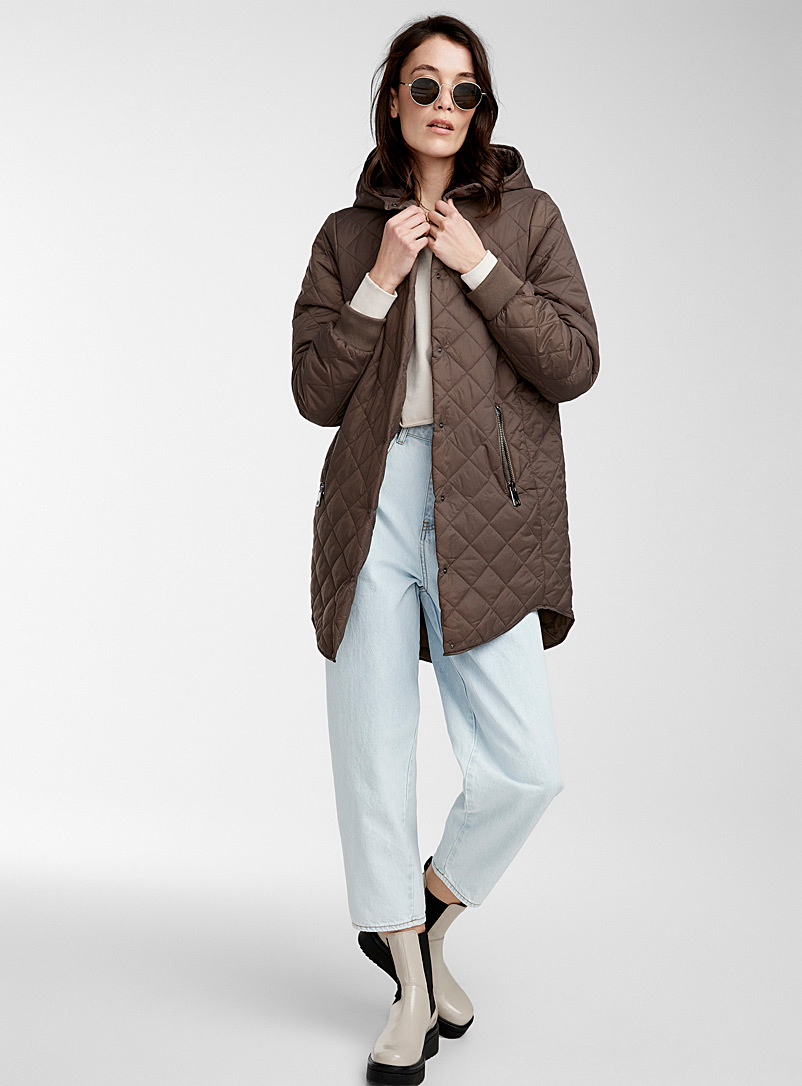 Vero Moda Khaki Hooded long puffer jacket for women