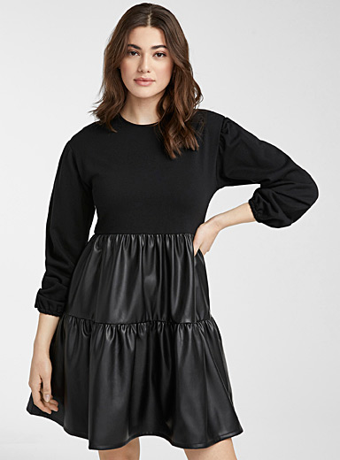 Faux-leather ruffled dress