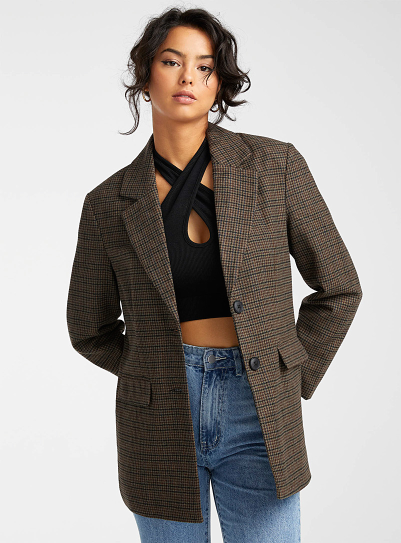 Vero Moda Patterned Brown Loose houndstooth jacket for women