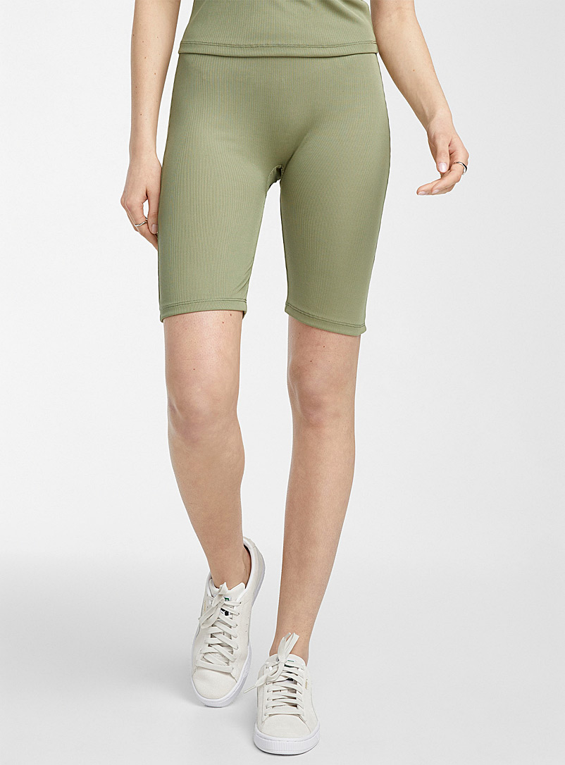 Vero Moda Mossy Green Ribbed biker short for women