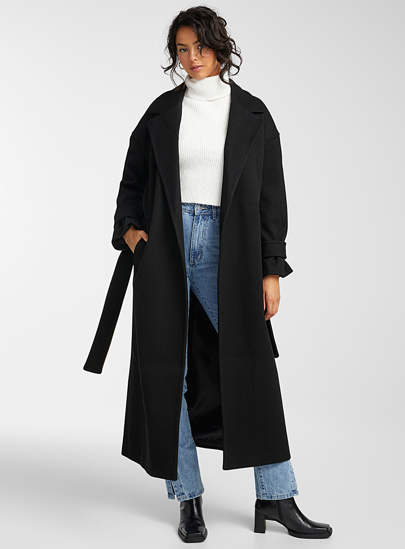 Vero Moda Black Long recycled polyester belted coat for women