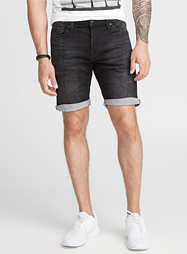 Black jogger denim Bermudas