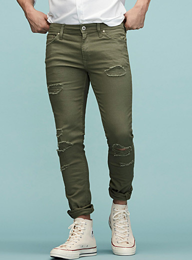 Distressed khaki jean <br>Super skinny fit