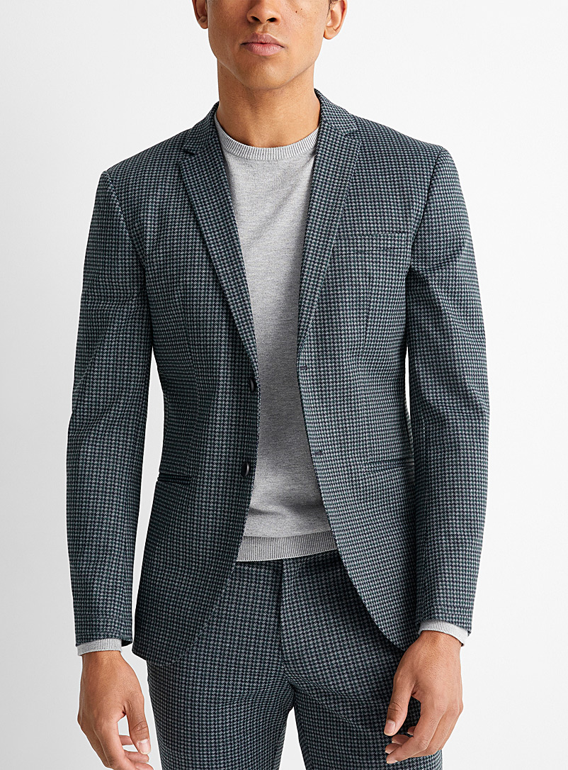 Jack & Jones Patterned Green Stretch houndstooth jacket  Slim fit for men