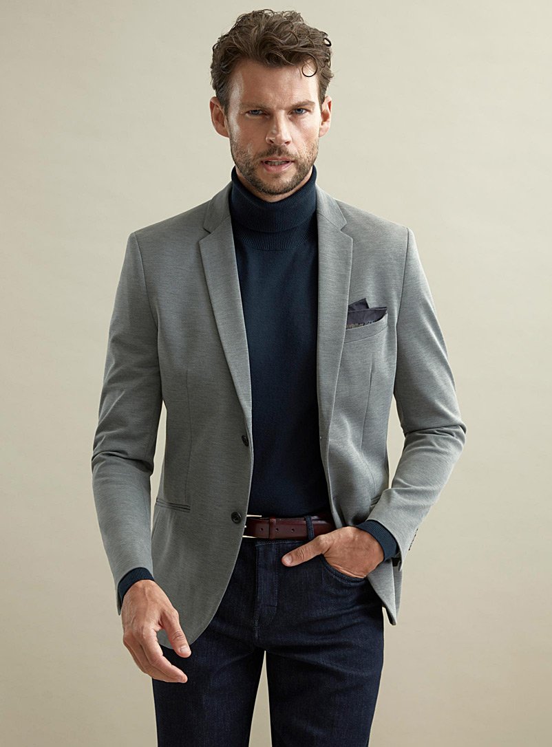 Monochrome engineered jersey jacket  Semi-slim fit - Suit Separates - Charcoal