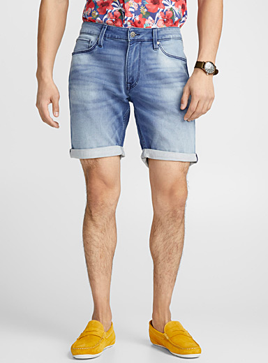 Terry- lined faded denim short
