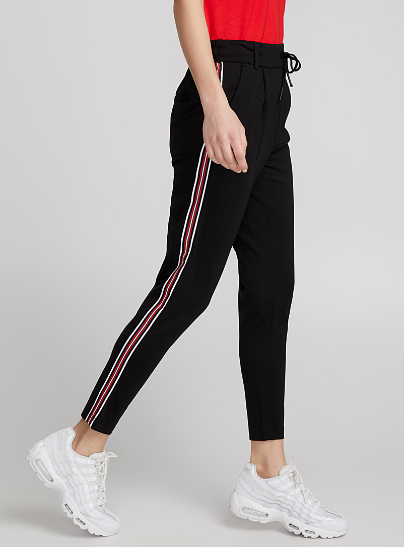 Ribbon stripe pant - Joggers - Black