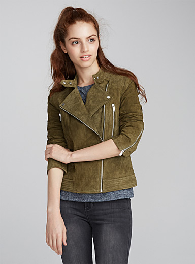 Genuine suede biker jacket
