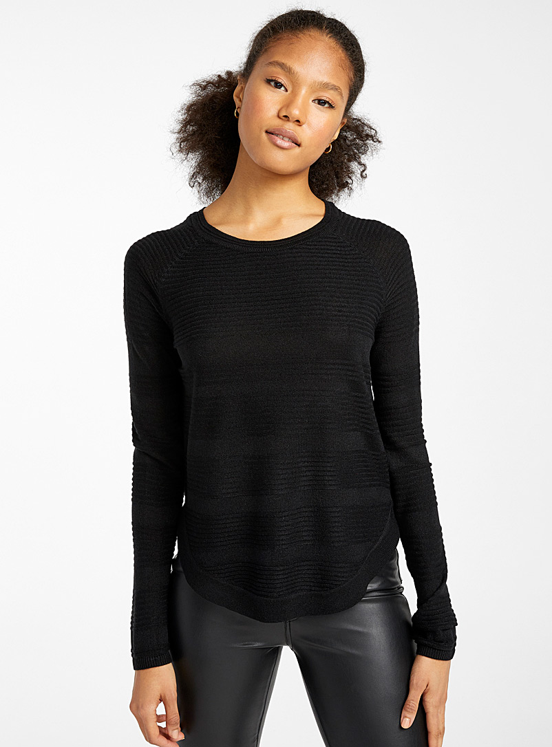 Only Black Ribbed striped sweater for women