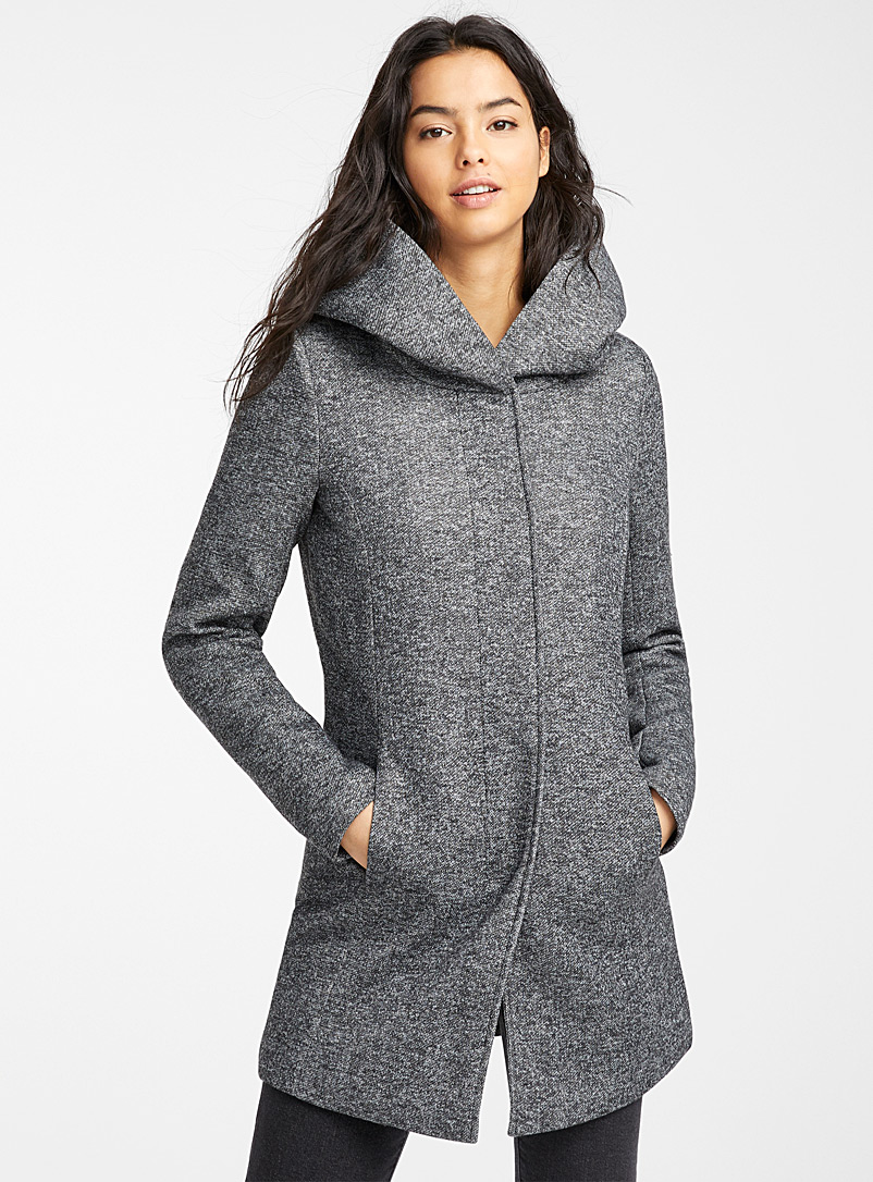 Only Dark Grey Sedona heathered fitted coat for women
