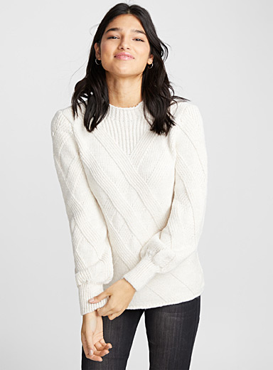 Crossed cable mock-neck sweater