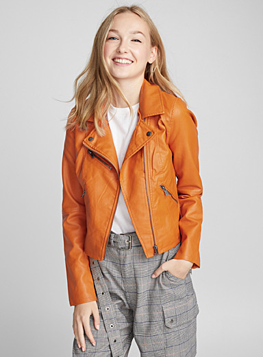 Accent-zip biker jacket