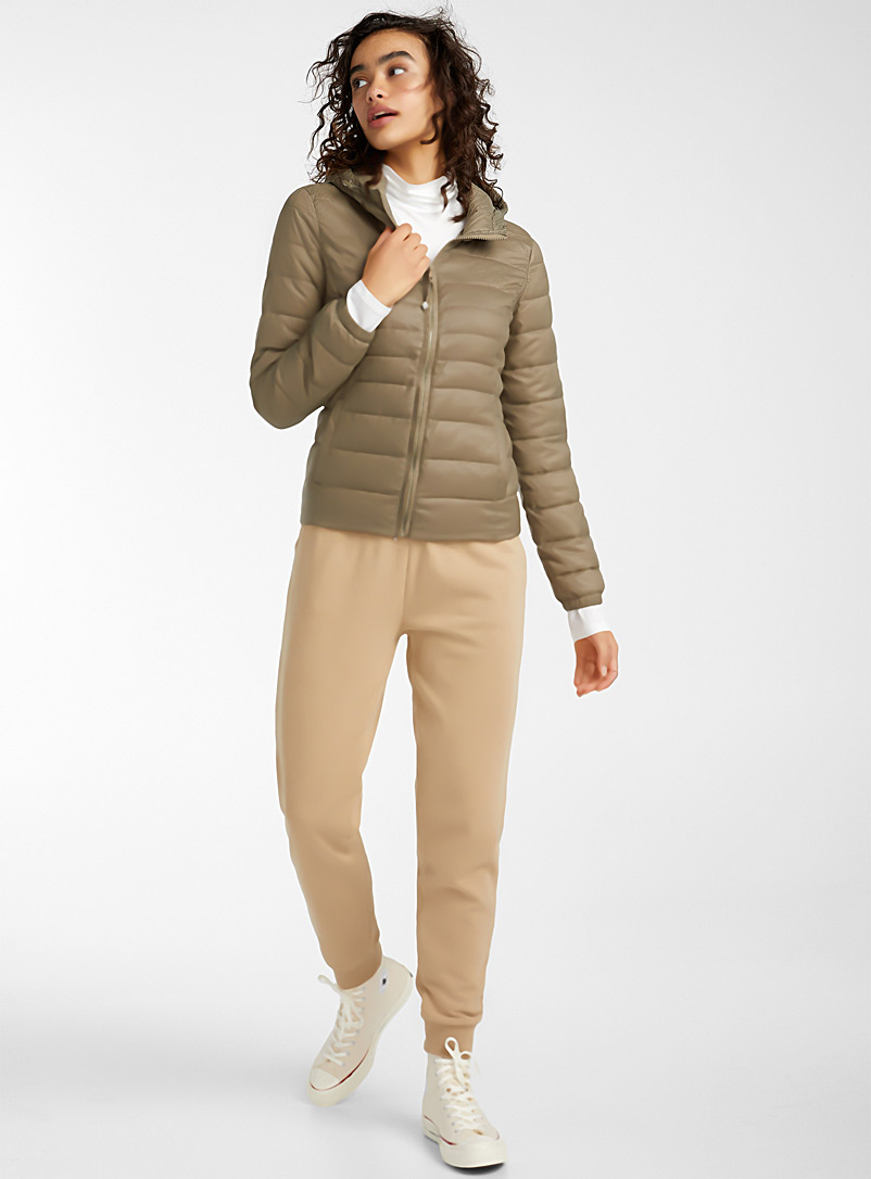 Only Khaki Packable cropped puffer jacket for women