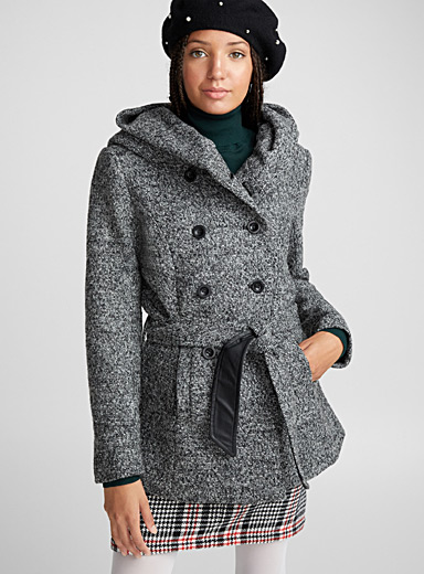 Crossover hooded wool coat