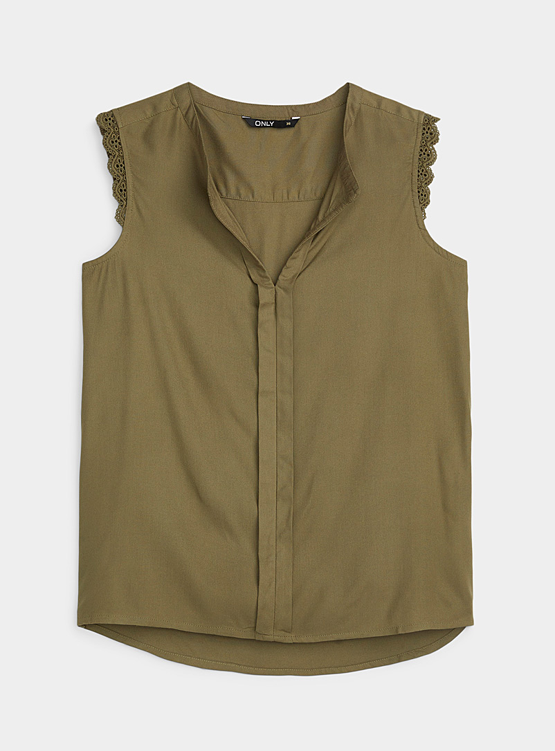 Only: La blouse manches broderie anglaise Vert pour femme