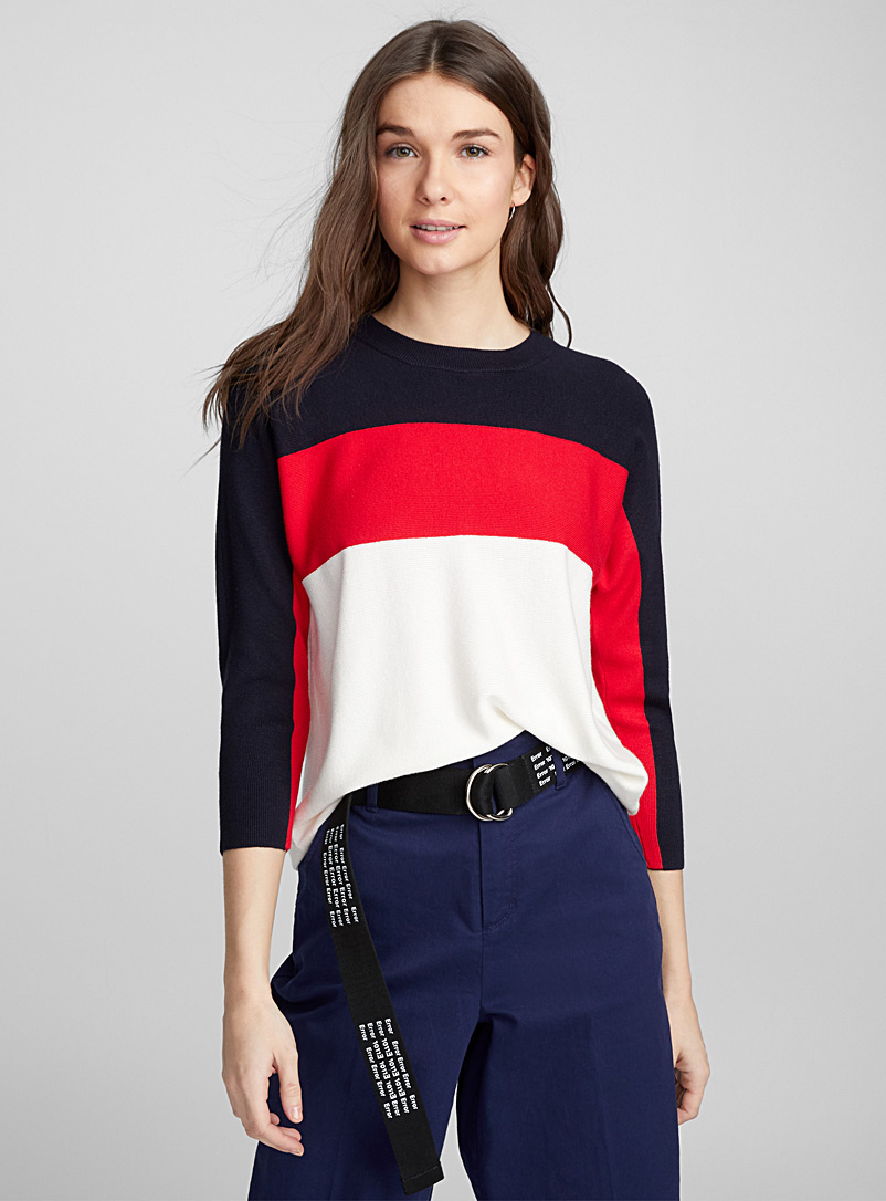 Athletic-stripe sweater - Sweaters - Marine Blue